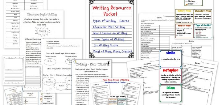 This Writing Resource Packet will help you take your kids' writing to the next level! It includes two huge action-packed pdfs: The 200-page Writing Resource Packet and the 75-page Writing Workshop Packet.  The Writing Resource Packet includes dozens of mini-lesson writing ideas. Your kids will go from creating fascinating characters, to developing plot twists, using descriptive language and more! The other packet is all about Creating a Writing Workshop in Your Homeschool.
