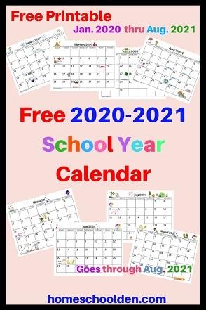 Free 2020-2021 School Year Calendar