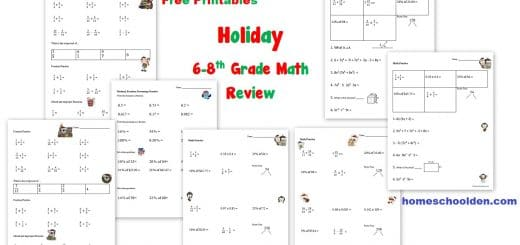 Holiday Math Review - 6th to 8th grade Free Printables