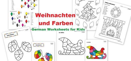 Weihnachten und Farben German Worksheets for Kids