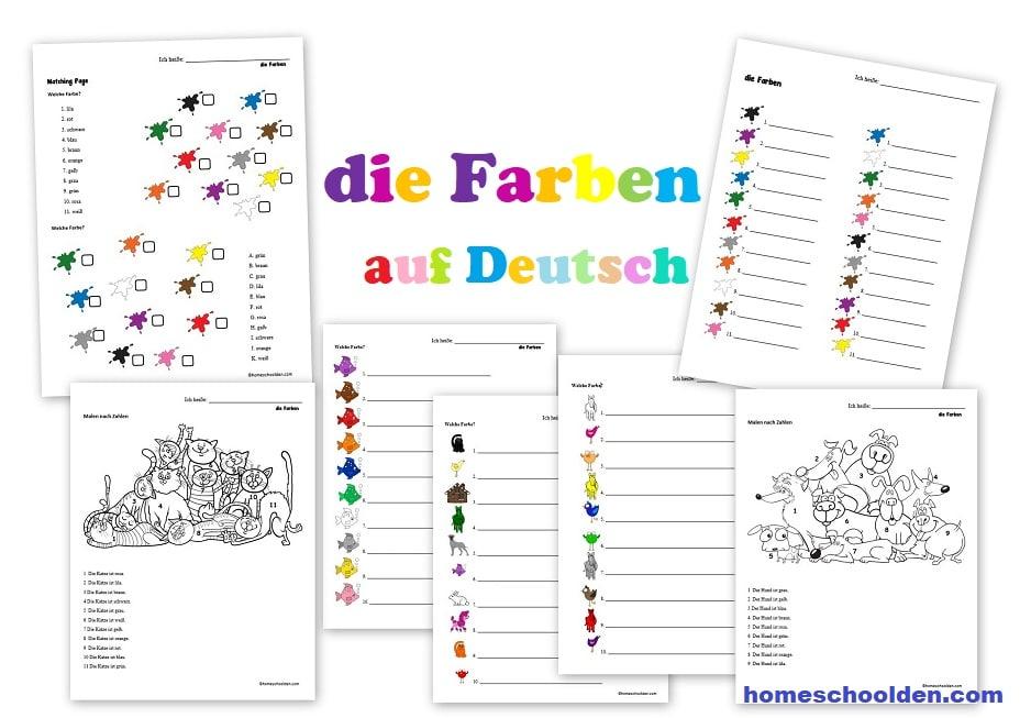 German Worksheets - die Farben auf Deutsch