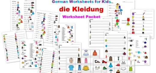 die Kleidung - German Worksheets for Kids