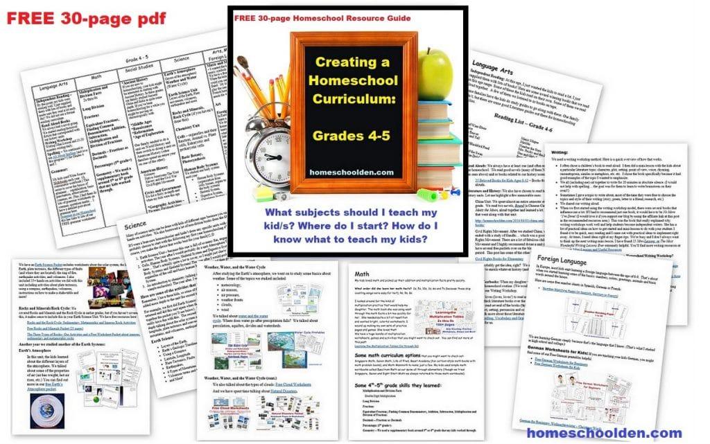 Creating a Homeschool Curriculum Grade 4 Grade 5 - FREE Homeschooling Resource Guide
