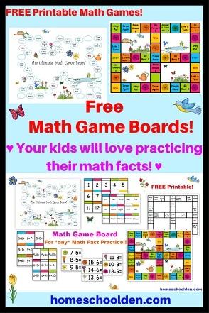 Free Math Game Boards