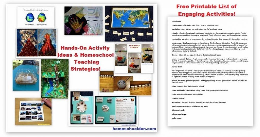 Hands-On Activity Ideas - Homeschool Teaching Strategies - Free Printable LIst