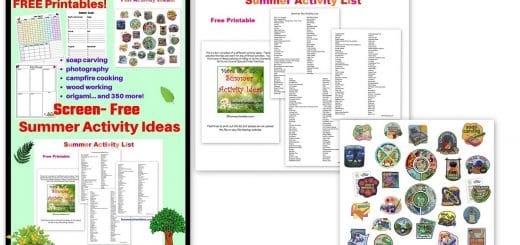 Screen Free Summer Activity List with Free Summer Planner