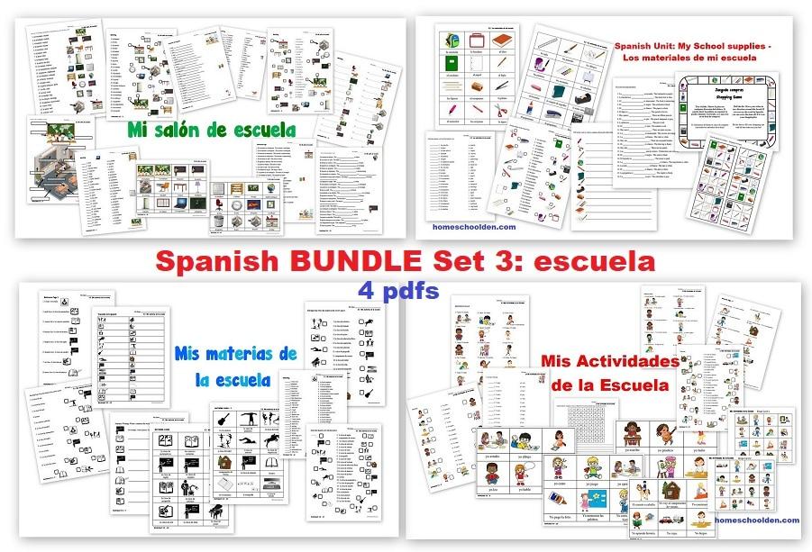 Spanish BUNDLE Set 3 - escuela - SCHOOL