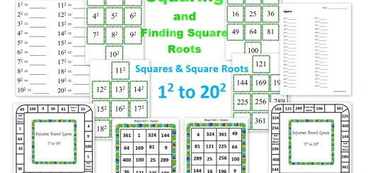 Squaring and Finding Square Roots - Math Games and Activities