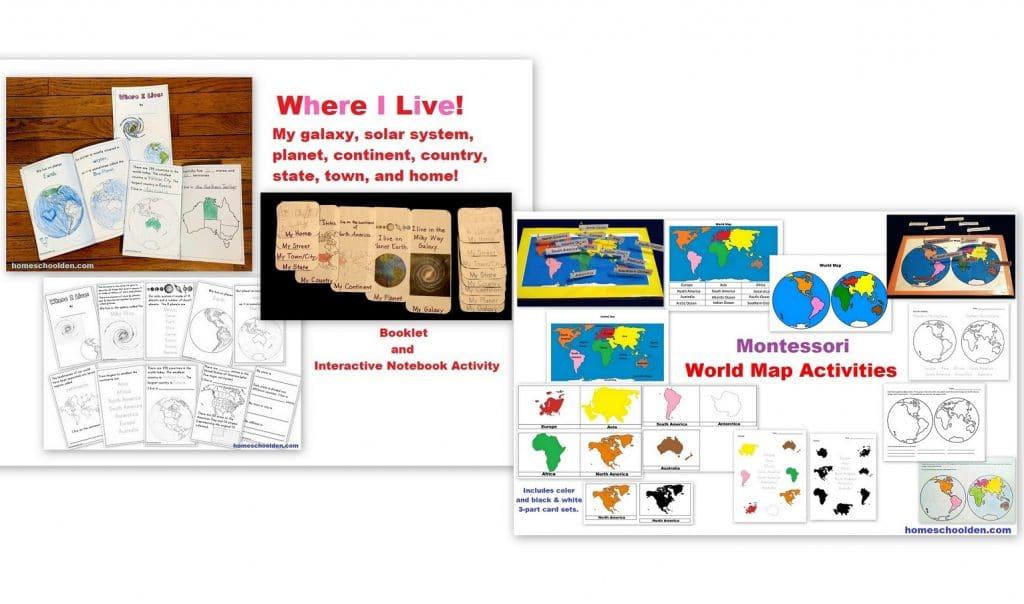 Where I Live and Montessori World Map Activities
