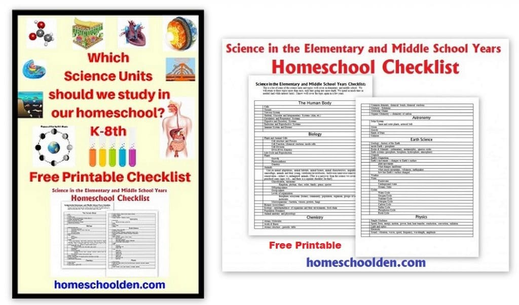 Free Science Checklist - Elementary Middle School