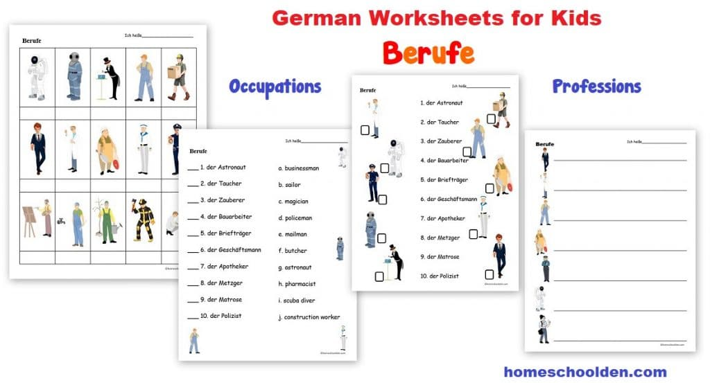 German Worksheets - Berufe -- Occupations Professions Printables