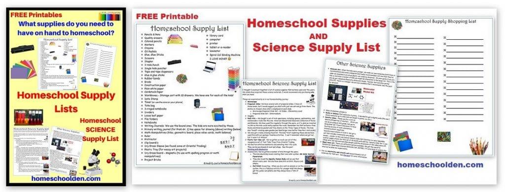 Homeschool Supplies and Homeschool Science Supply List - Free Printable
