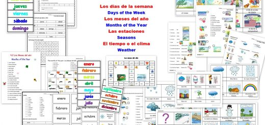 Spanish Worksheets for Kids - Days Month Seasons Weather - días meses estaciones tiempo clima