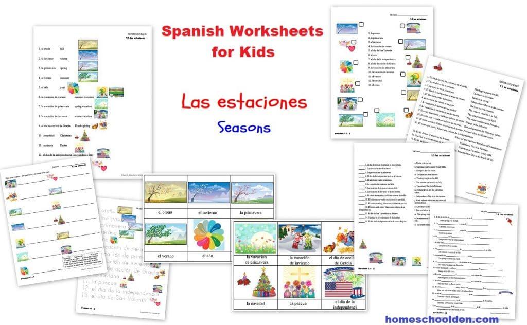 Spanish Worksheets for Kids - Las estaciones - the seasons