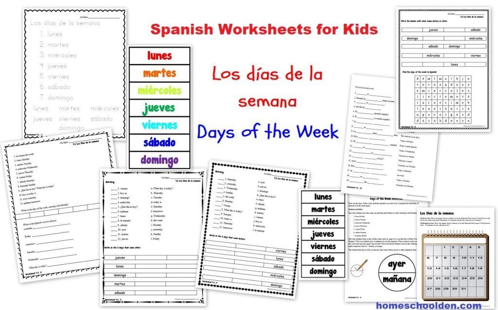 Spanish Worksheets for Kids - Los días de la semana activities games printables
