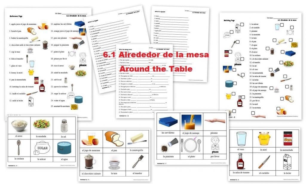 6.1 Alrededor de la mesa Around the Table - Spanish Worksheets