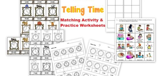 Clocks - Telling Time Matching Activity and Practice Worksheets