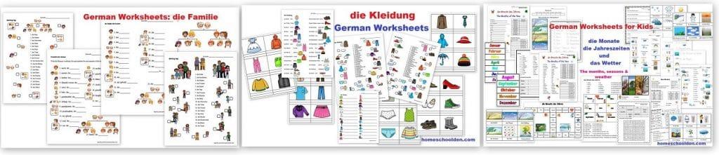 German Worksheets - Familie - Kleidung - Wetter