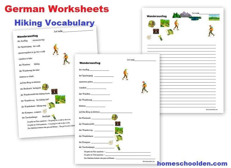 German Worksheets Hiking Vocabulary