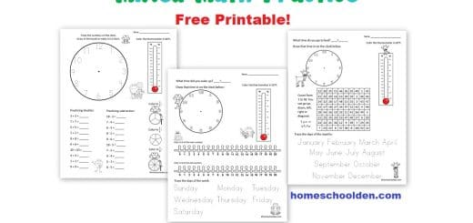 Today I have a new Friday Freebie for you! I often like to start out the year by providing some regular freebies for my readers.  My hope is to share some free materials with you on Fridays. These pages include some basic clock/time practice, reviewing the days of the week, months of the year, fractions, and other things. Hope it is helpful! Enjoy!  ~Liesl Click on the link or the picture to download:     Here are some past math freebies you might want to check out: Math Freebie: addition/subtraction practice easy skip counting pages (for 2s, 5s, and 10s) Free Fall Skip Counting Pages: 2s 3s 5s and 10s Free Spring Skip Counting Pages - Since it's still August, I thought I'd share the link to these free skip counting mazes as well... As you can see, they are  more of a spring/summer theme. :) Math Freebie: Mixed Math Practice We play all kinds of games in our homeschool (related to things we are studying).  I love when the kids BEG to play just one more round!  Here's a FREE math game board set I made last spring! This can be used with *any* math facts.  This is the addition/subtraction facts & number recognition. You'll also find the version with  a set of cards for multiplication/division here. You might be interested in our K-2 Math BUNDLE: It is one of the best Bundles we have available... with more than 20 pdfs at just $5.50. :)  I've just had fun making these worksheets and keep adding to the bundle!   You might also want to check out our Spelling Word Sorts and Games: See you again soon here or over at our Homeschool Den Facebook Page! Don't forget to Subscribe to our Homeschool Den Newsletter. You might also want to check out some of our resources pages above (such as our Science, Language Arts, or History Units Resource Pages) which have links to dozens of posts.  You might want to join our free Homeschool Den Chat Facebook group.  Don't forget to check out Our Store as well. Again, if you are interested in joining our Homeschool Den Newsletter, feel free to subscribe here. The Welcome Series includes 5 packed emails… with tips on homeschooling, keeping motivated, finding various resources and freebies tucked away on the blog and more! Plus, you'll be the first to hear about new packets (generally offered at a discount when they are first released), seasonal resources and more! Happy Homeschooling! ~Liesl