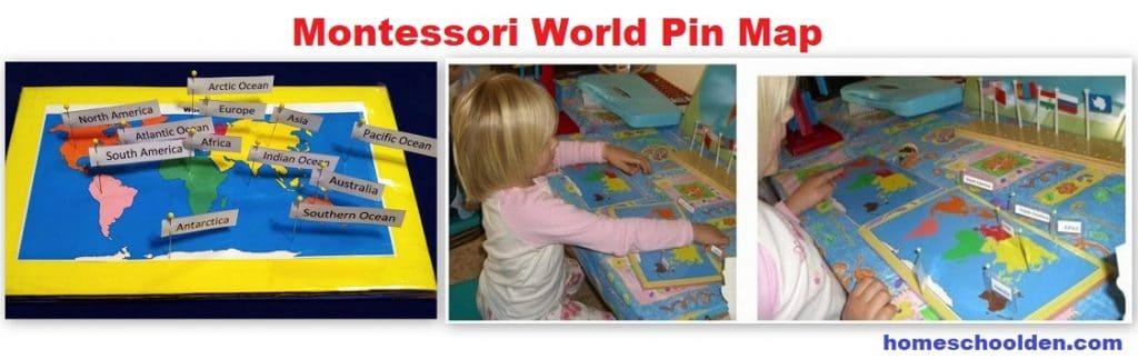 Montessori World Pin Map Geography Activity