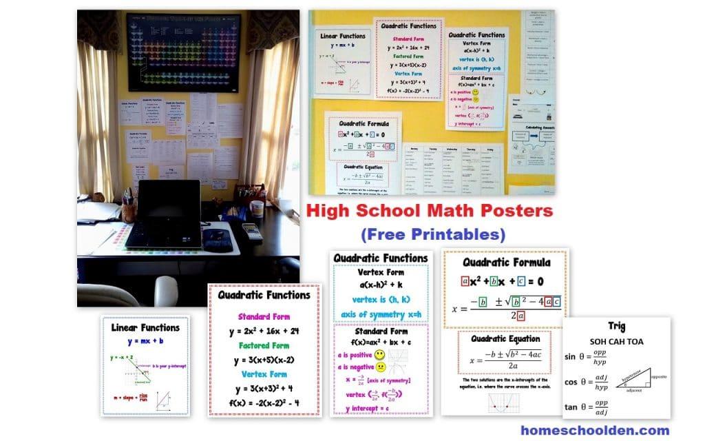 High School Math - Quadratic Functions and Trig Printables
