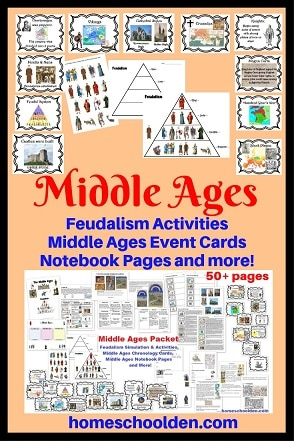 Middle Ages - Feudalism Activities Event Cards Worksheetsand More!