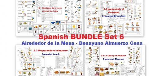 Spanish Worksheets Todo sobre la comida -Breakfast Lunch Dinner - Alrededor de la Mesa - Desayuno Almuerzo Cena