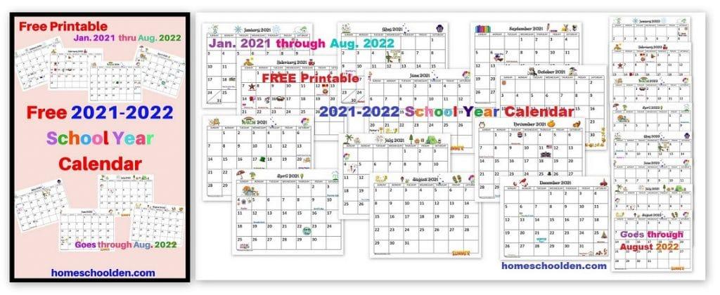 Free 2021-2022 Printable Calendar pdf freebie