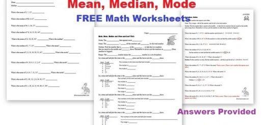 Mean Median Mode Math Worksheets