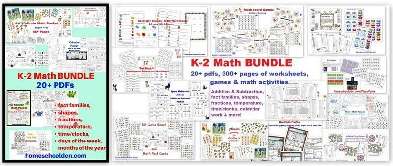 K-2 Math BUNDLE Addition Subtraction shapes clocks calendar and more
