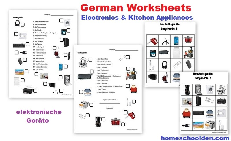 German Worksheets - Electronics - Kitchen Appliances - elektronische Geräte