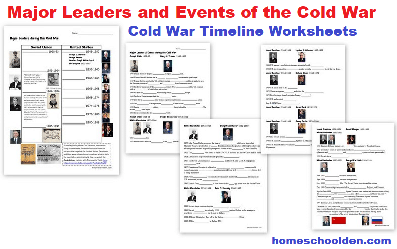 Cold War Timeline Worksheets - Major Events and Leaders of the Cold War